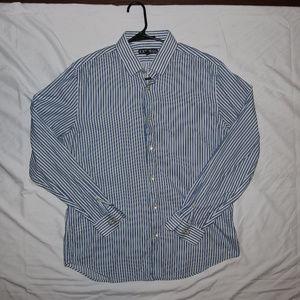 Express Modern Fit Button Up Striped LS Shirt